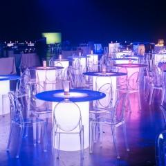 lit lucite tables event decor las vegas